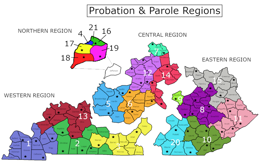 Probation & Parole - Department of Corrections on eastern ky map, eku map, eastern kentucky county road map, eastern kentucky counties map,